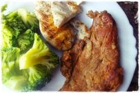 Brocolos + Frango + Carne de porco (ja nao comia haaa buess, soube bem )