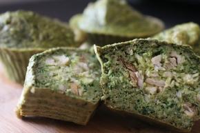 Muffins De Espinafres E Aveia Recheados Com Frango